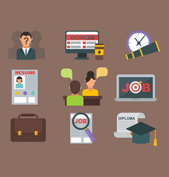 job search icon set computer office concept vector image