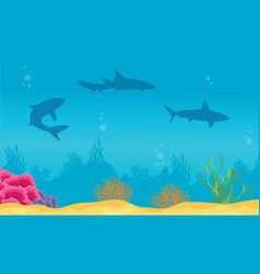 landscape of ocean with reef and shark silhouettes vector image