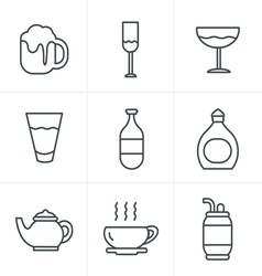 Line icons style beverage icons vector