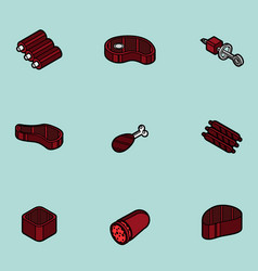 Meat color outline isometric icons vector