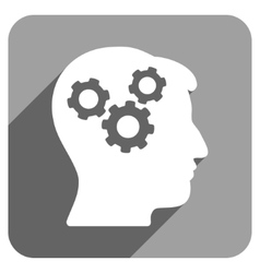 Mind Flat Square Icon with Long Shadow vector image