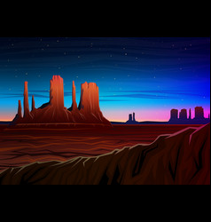 Mountain and monument valley night panoramic view vector