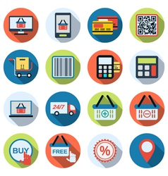 Online shopping flat icons vector image