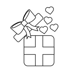 open gift box coming out of heart vector image