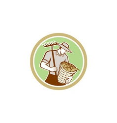 Organic Farmer Holding Rake Harvest Basket Retro vector image vector image