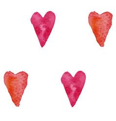 Pattern watercolor hearts vector