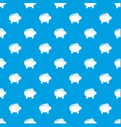 piggy bank pattern seamless blue vector image vector image