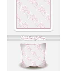 Pillow pink flowers on gray vector