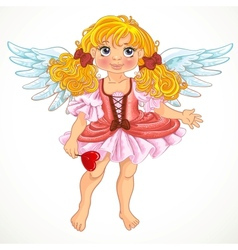 Pretty angel girl with wings vector image