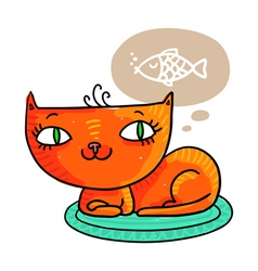 Red cat dreaming of a fish isolated on white vector image vector image