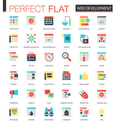 set of flat web development icons vector image vector image