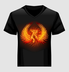 Shirt template with phoenix in flame vector