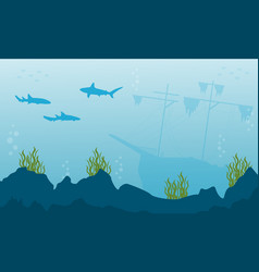Silhouette of fish and ship on ocean landscape vector