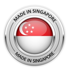 Silver medal made in singapore with flag vector
