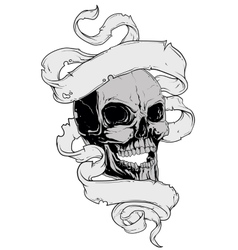 Skull tatto and ribbon vector image vector image