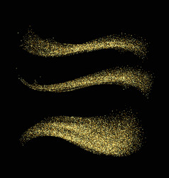 Stardust collection gold glitter wave set magic vector