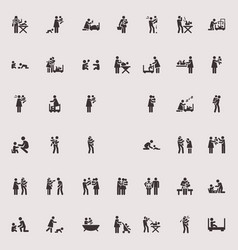 stick figure children and family vector image