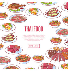 Thai food restaurant advertising with asian dishes vector