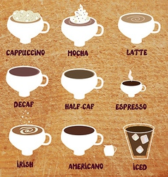 Types of coffee - funny menu vector