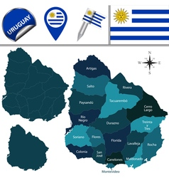 Uruguay map with named divisions vector