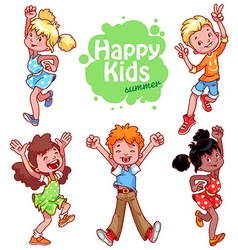 Very happy children on a white background vector