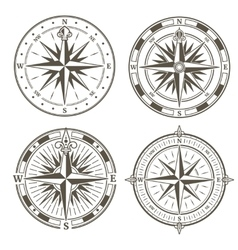 Vintage nautical compass signs set retro vector