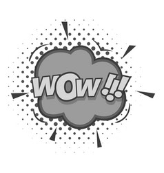 Wow text sound effect icon monochrome vector