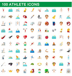 100 athlete icons set cartoon style vector