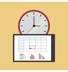 Clock with office related icons vector