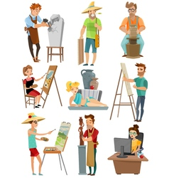 Artist cartoon set vector