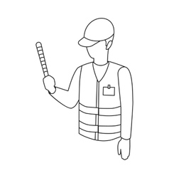 Parking attendant icon in outline style isolated vector
