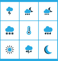 Weather colored icons set collection of cold vector