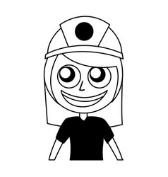 Woman firefighter avatar character icon vector