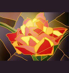 Stained glass tulip vector