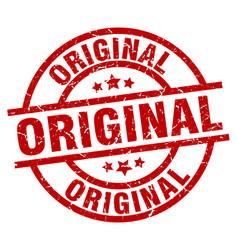 Original round red grunge stamp vector