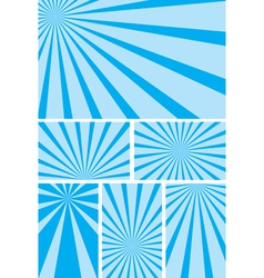 Blue backgrounds with radial rays - set vector