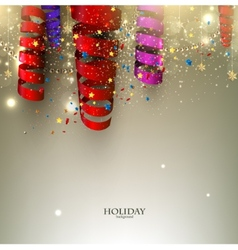 Colorful confetti and ribbons holiday background vector