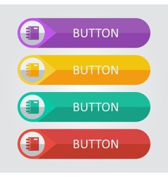 Flat buttons with notepad icon vector