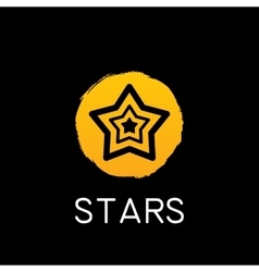 Yellow star icon on black background vector