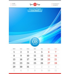 Wall calendar 2016 august template with abstract vector
