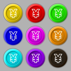 Yen jpy icon sign symbol on nine round colourful vector