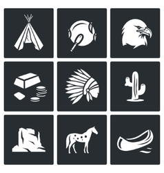 Indians wild west icons set vector