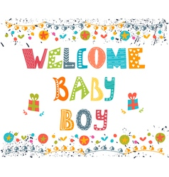 Welcome baby boy baby boy arrival postcard baby vector