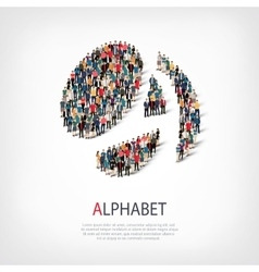 Alphabet people sign 3d vector