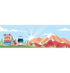 Day landscape mountains dawn vector