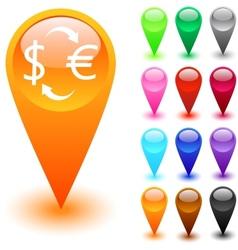 Money exchange button vector image