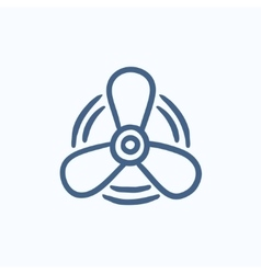 Boat propeller sketch icon vector