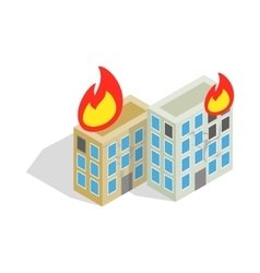 Multistory houses burn modern war icon vector