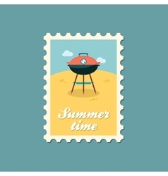 Barbecue grill stamp Summer Holiday vector image