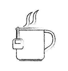 Blurred silhouette cartoon mug with bag tea and vector